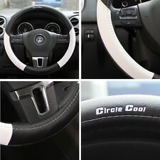 "Black+White PVC Leather Steering Wheel Cover Toyota Corolla Camry Tacoma 14""-15"""