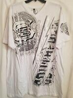 Southpole Mens Tshirt 5XL Tee White Short Sleeve Silver Graphics Skull NWT