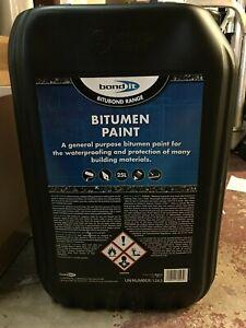 BOND IT BUCKET 25 LITRE TUB OF BITUMEN PAINT BITUBOND WATER PROOFING WEATHERING