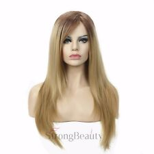 Long Straight Blonde Ombre Gold Side Bangs Natural Full Synthetic Wig Wigs Party