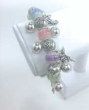 Angel Charm Stretch Bracelet Silver Plated - Style 1, BULK 12PCS