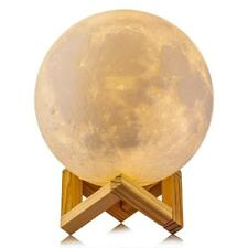 3d Textured LED Moon Night Lamp Touch Sensor Dimmable Light W/ Wooden Stand WHT