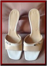 Bally,Italy  women Naked color Leather medium high heel, US 8 Mules r hot again