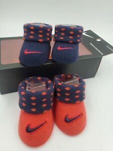 2 Pair Nike Baby Boys Booties, Size 0-6 Months, Red, Blue, Shower Gift MP