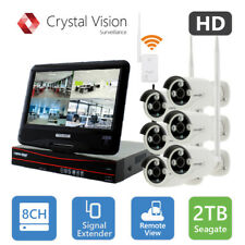 Crystal Vision CVT9608E-3010W 8CH HD Wireless Surveillance System NVR CCTV 2TB