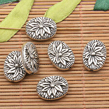 7pcs tibetan silver tone 2sided lotus flower Spacer beads h0459