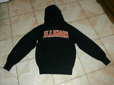 Illinois College Football Pullover Jacket Hoodie Adult Small Sewn Logo