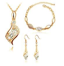 Diamante Bridal Jewellery Set White & Gold Drop Earrings Necklace, Bracelet S411