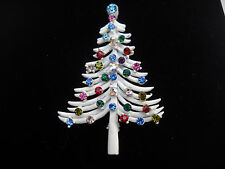 Vintage DODDS White Christmas Tree Brooch OOAK