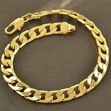 Handsome 9K Yellow Gold Filled Bracelet Bangle For Women Men Lucky Jewelry