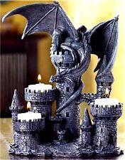 Ledendary Medieval * Castle & Dragon Triple Tealight Candleholder * Nib
