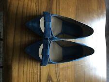 zara blue suede pointed flat shoe size 5