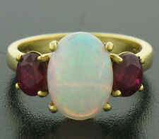 FINE 18k Yellow Gold 4.04ctw Prong Set LARGE Oval Opal & Ruby 3 Stone Ring
