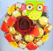 Rocher-Küsschen-Herzen-Strauß mit  Eule Praline  Schokolade Geburtstag Präsent