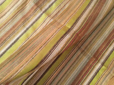 Scarf, thin, stripes brown, yellow, metalic, tan, new 25 x 72 elegant polyester.