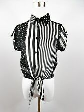 Italian Women's Black White Stripe Dots Sheer Sexy Crop Blouse Shirt sz S BE56