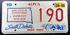 """Nummernschild USA South Dakota """"ALPCA Rapid City Convention 1990"""".Treffen. 13447"""