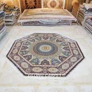 Yilong 10'x10' Octagon Oversized Handknotted Silk Carpet Medallion Rug Z499A