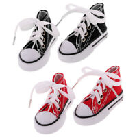 2 Pair Red+Black Lace Up Canvas Sneaker Shoes for 1/4 BJD SD LUTS SOOM 7.5cm