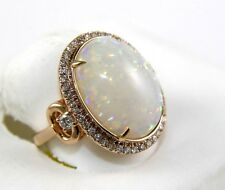 Fine Huge Oval Cut Fire Opal Solitaire Ring w/Diamond Halo 14k Rose Gold 7.21Ct