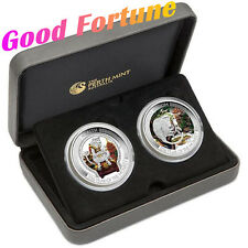 Australia Lunar Good Fortune 2016 Year of Monkey 1oz Silver Proof Two-Coin Set!!