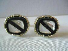 Vintage Silvertone Black / White /Clear Diagonal Stripe Cuff Links