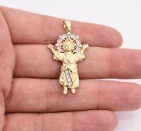 "1 3/4"" Baby Jesus Divino Niño Charm Pendant Real SOLID 10K Yellow White Gold"