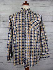 De Colección Azul/Amarillo a Cuadros Camisa De Franela Skater Urban Grunge-M-DB79