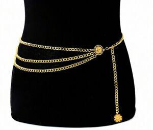 Women Vintage Gold Coin Metal Retro High Waist Charm Waistband tassel Chain Belt