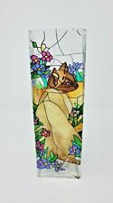 Joan Baker Designs Tiffany Cats Hand Painted Stained Glass Vase Collectible 10x3