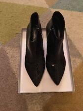 Carvela Black Snake Print Leather Ankle Boot. Size 6