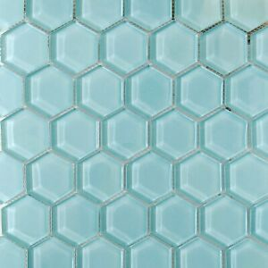 "2"" Light Blue Hexagon Glass Mosaic Tile For Wall and Floor"