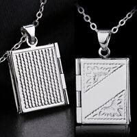 Sterling Silber Buch Medaillon Halskette Liebe Schlangenkette zarten Schmuck
