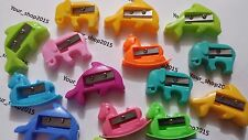 10 PLASTIC ANIMAL SHAPE PENCIL SHARPENERS OFFICE & SCHOOL, DOLPHIN, HORSE, ELEPH