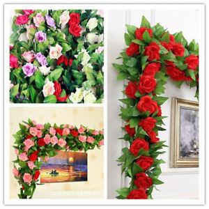 2 Stück 2,5M Künstliche Rose Garland Silk Blume Reben Ivy Hochzeit Garten Dekor