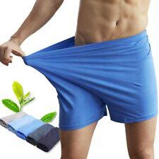 Men's Cotton No Fly Underwear Boxer Briefs Trunk Sleepwear Shorts Plain Soft