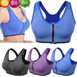 Women Zipper Stretch Sports Bra Running Gym Yoga Padded Fitness Workout Top Tank