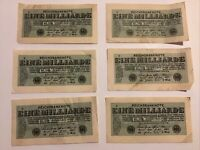 Lot Of 6 X Germany Banknotes. 1 Billion Mark. Dated 1923. Pick 122.