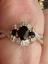 9ct Gold Saphire & Diamond Ring Size P1/2 2.6g