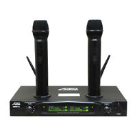 Audio 2000s 6113V VHF Dual Channel Karaoke Recharge Wireless Microphone System