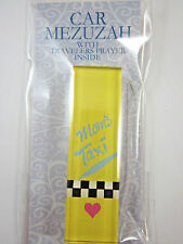Car Mezuzah Acrylic MOMS TAXI with Travelers Prayer