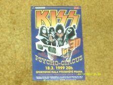"""KISS Paper Handbill--PRAGUE 3/18/99--PSYCHO-CIRCUS Tour App. 3 1/2""""x 5"""" VG shape"""