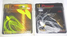Picasso 1/4 & 3/8 Spinnerbaits (Lot of 2-Chart Fire/White Flash)