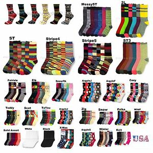 3 6 12 Pack Men Women Fashion Crew Ankle Socks Argyle Stripe Casual Design 9-11