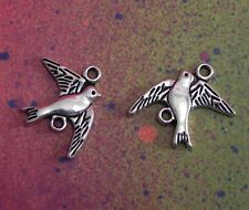 20 Bird Charms Dove Swallow Flying Silver Metal Wedding Double Hole Connectors