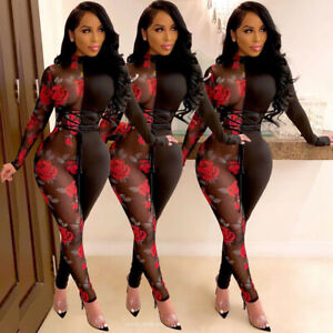 Sexy Women Long Sleev Rose Print Mesh See-Thru Patchwork Bodycon Jumpsuit Romper