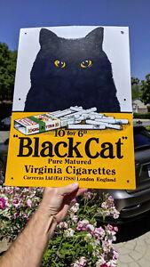 "BLACK CAT VIRGINIAN CIGARETTES PORCELAIN SIGN ORIGINAL 20""X 14"""