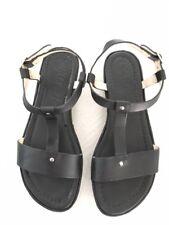 ELIZABETH and JAMES 'Cree' black leathe low platform t-strap sandals , siz6 1/2