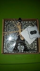 Mud Pie Fleur napkin set black paper napkins and Eiffel Tower ( F1)