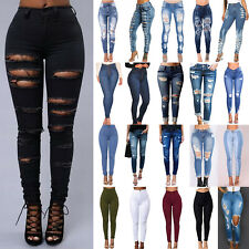 Women High Waisted Ripped Stretchy Skinny Denim Jeans Slim Casual Jeggings Pants